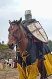 Man in a medieval historical clothes on horseback Royalty Free Stock Photos
