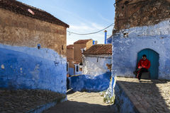 A man in Medina of Chefchaouen in Morocco Royalty Free Stock Photography