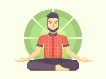 Man meditates in the Lotus position Royalty Free Stock Image