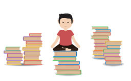 Man meditates on a pile of books Royalty Free Stock Image