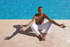 Man meditating Stock Image