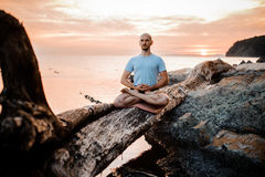Man meditating on broken tree near sea sunset . Doing yoga outdoors royalty free stock photos