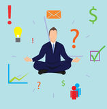 Man meditating in front of clocks to improve his time management. Man sitting in meditation position relaxing mind in front of the clocks stock illustration