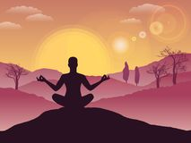 Man meditating on hill, tranquility, balance, spirituality concept, vector illustration. Man meditating on hill during sunset Stock Photos