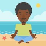 Man meditating in lotus pose. Royalty Free Stock Image