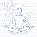 Man meditating in lotus pose. Royalty Free Stock Images