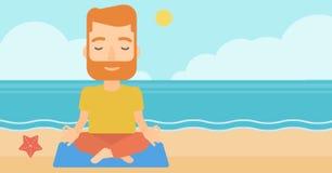 Man meditating in lotus pose. Stock Image