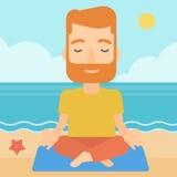 Man meditating in lotus pose. Stock Photos
