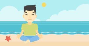 Man meditating in lotus pose vector illustration. An asian young man meditating in yoga lotus pose on the beach. Man relaxing on the beach in the yoga lotus Royalty Free Stock Photos