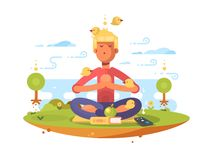 Man meditating in park. On lawn to music. Vector illustration vector illustration