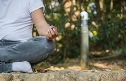 Man meditating in nature. Man meditating on a rock surrounded by nature royalty free stock photos
