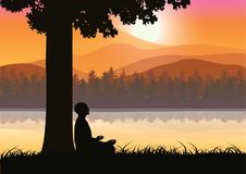 Man meditating in sitting yoga position on the top of a mountains above clouds at sunset. Zen, meditation, peace, Vector illustrat. Ions top Stock Illustration