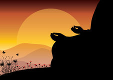 Man meditating in sitting yoga position on the top of a mountains above clouds at sunset. Zen, meditation, peace, Vector illustrat Stock Images