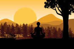 Man meditating in sitting yoga position on the top of a mountains above clouds at sunset. Zen, meditation, peace, Vector illustrat. Ions top Stock Photography