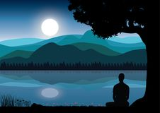 Man meditating in sitting yoga position on the top of a mountains above clouds at sunset. Zen, meditation, peace, Vector illustrat. Ions top Vector Illustration