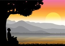 Man meditating in sitting yoga position on the top of a mountains above clouds at sunset. Zen, meditation, peace, Vector illustrat. Ions top Royalty Free Illustration