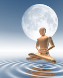 Man meditating under moon. Hovering over water surface Stock Photos