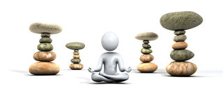 Man meditating and zen stones Stock Photos