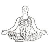 Man meditating zentangle stylized, vector, illustration, freehan Stock Photography