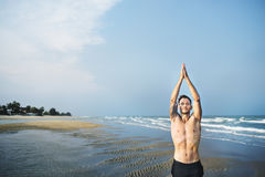 Man Meditation Beach Fitness Yoga Concept Royalty Free Stock Image