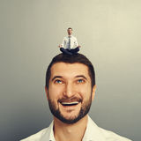 Man meditation on the big head Royalty Free Stock Photo