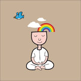 Man Meditation rainbow cloud Royalty Free Stock Photo