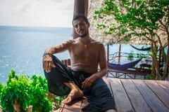 Man in meditation Stock Photo