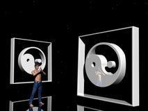 man meditera yang yin vektor illustrationer