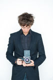 Man with medium format camera Royalty Free Stock Photo