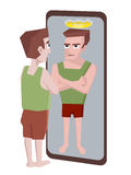 Man with megalomania looking into the mirror Royalty Free Stock Photo