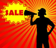 Man with megaphone. Sale concept Royalty Free Stock Photography
