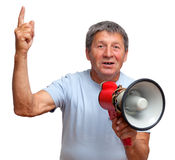 Man with megaphone Royalty Free Stock Images