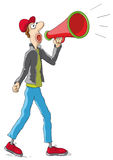 Man with the megaphone Stock Photography