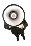 Man with Megaphone. Businessman Shouting Through Megaphone, standing over white background Royalty Free Stock Photography