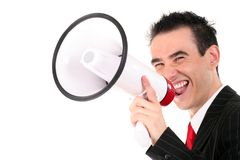 Man with Megaphone. Business Man Shouting Through Megaphone Stock Image