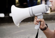Man and megaphone Stock Image