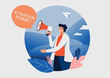 The man and megaphone with attention please word. People vector illustration. Flat cartoon character graphic design. Landing page royalty free stock image