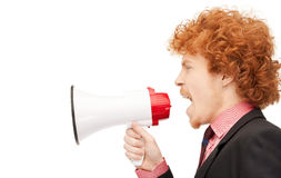 Man with megaphone Stock Photo