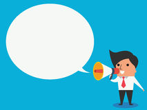 Man with megaphone. Cute character of businessman holding megaphone with speech bubble, business concept in announcement or communication. Trendy flat design Royalty Free Stock Images
