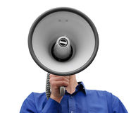 Man with megaphone in hand on the white. Background stock image