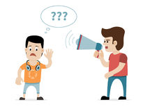 Man with megaphone and hard of hearing boy. Concept for hearing loss. Royalty Free Stock Photos