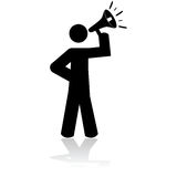Man with megaphone. Icon illustration showing a stick figure holding a megaphone Royalty Free Stock Photos