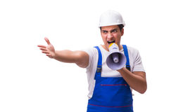 The man with megaphone isolated on white Royalty Free Stock Image