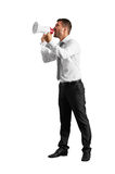 Man with megaphone looking up Royalty Free Stock Photo