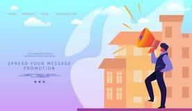 Man with Megaphone on Modern Cityscape Background. stock illustration