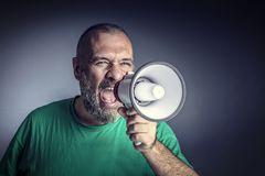Man with megaphone stock photos