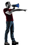 Man with megaphone  silhouette Royalty Free Stock Images