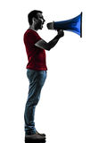 Man with megaphone  silhouette Royalty Free Stock Photo
