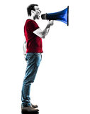 Man with megaphone  silhouette Royalty Free Stock Photos