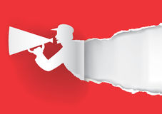 Man with megaphone torn paper. Royalty Free Stock Images